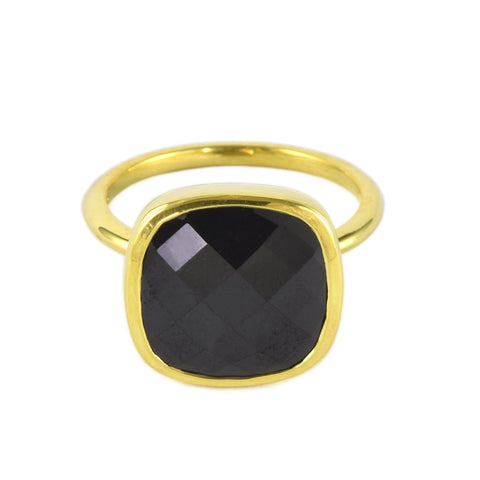 Gold and Black Spinel Influence Ring