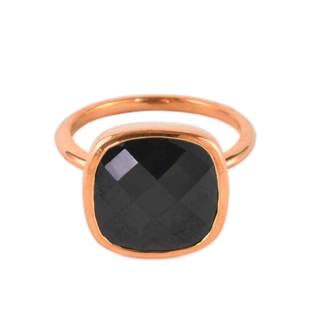Rose Gold and Black Spinel Influence Ring