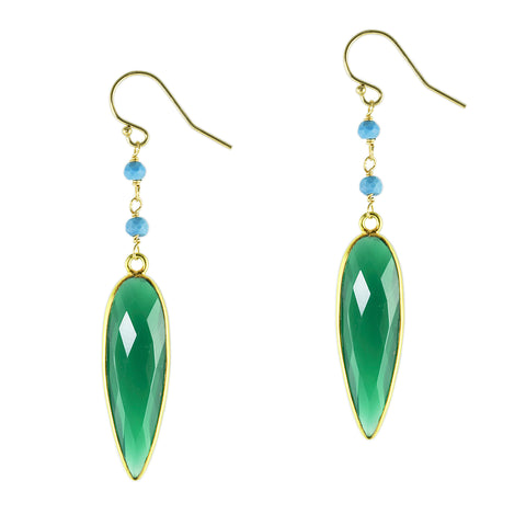 Emerald Agate Spear Tip Earrings