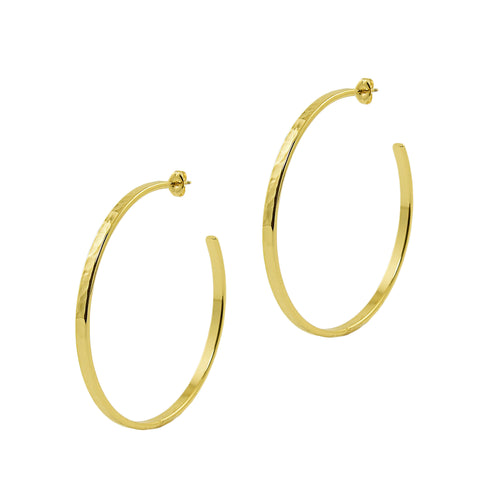 Gold Hammered Large Hoops