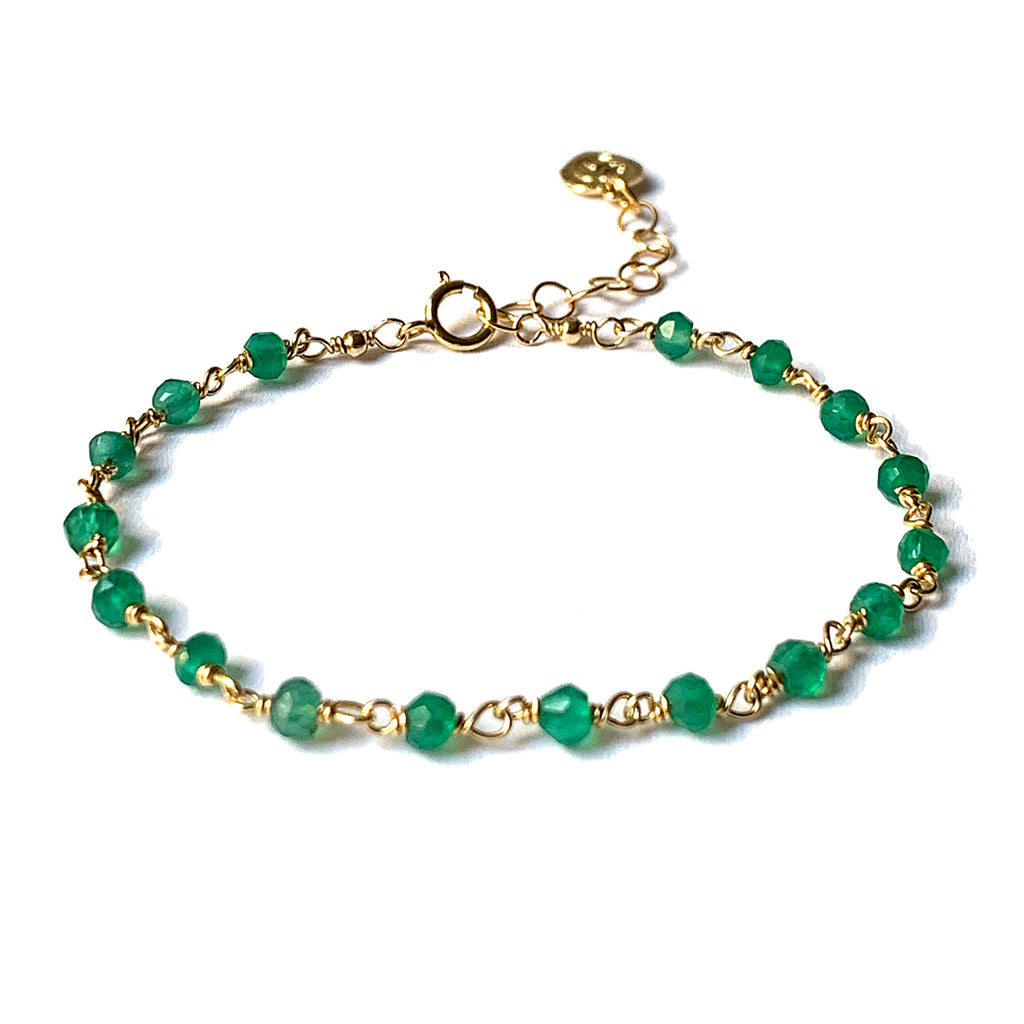 Emerald Agate Rosary Chain Bracelet