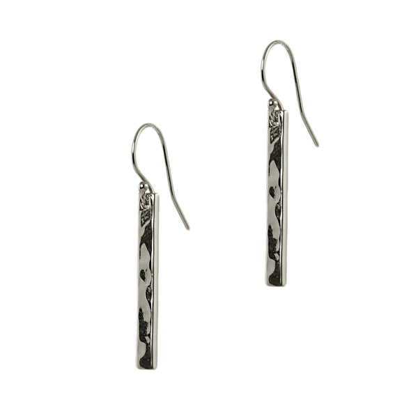 Silver Hammered Bar Earrings