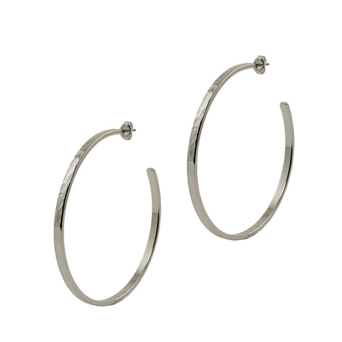 Silver Hammered Large Hoops