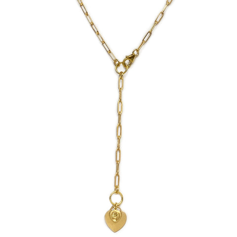 Gold Linear Link Heart Lariat