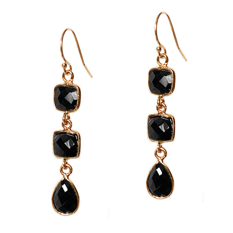 Black Onyx Trio Earrings