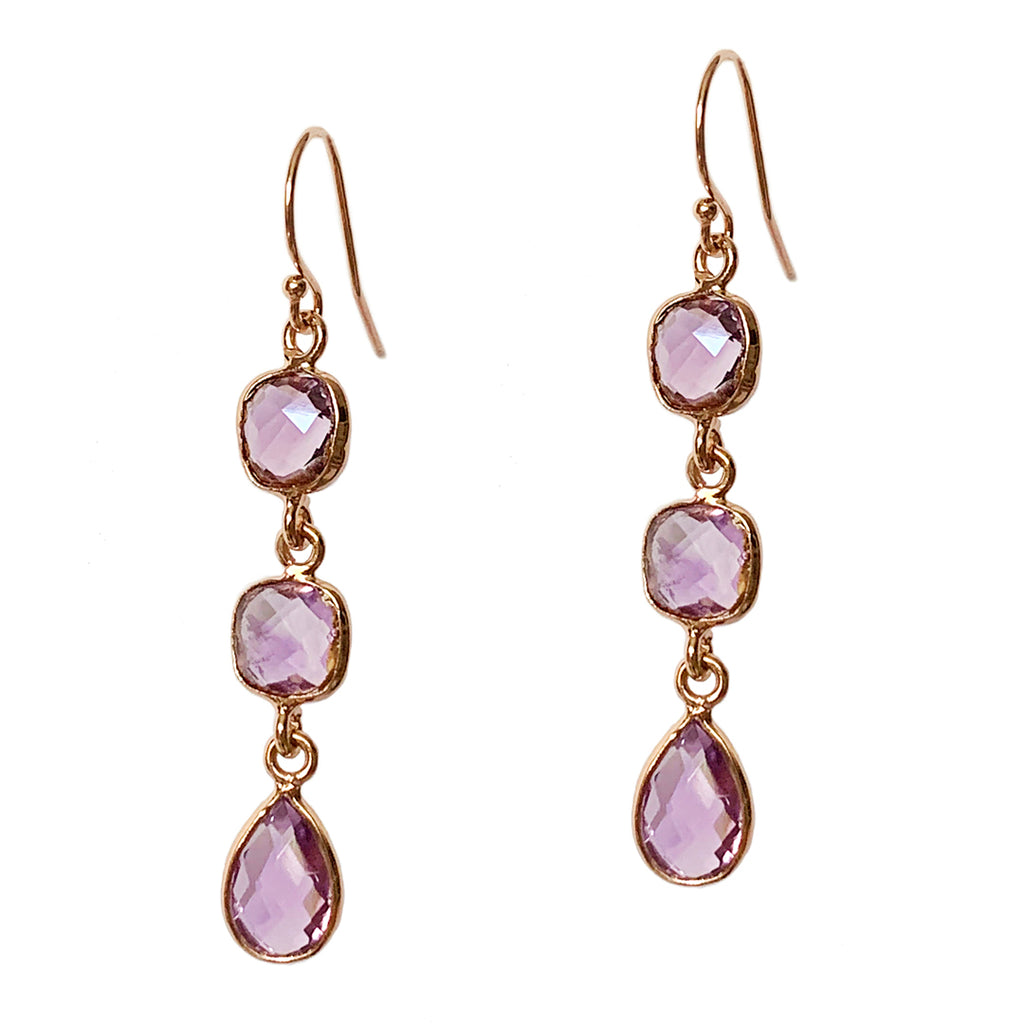 Pink Amethyst Trio Earrings
