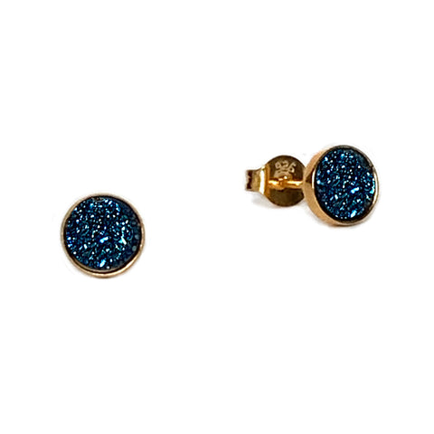 Gold and Teal Sparkle Studs