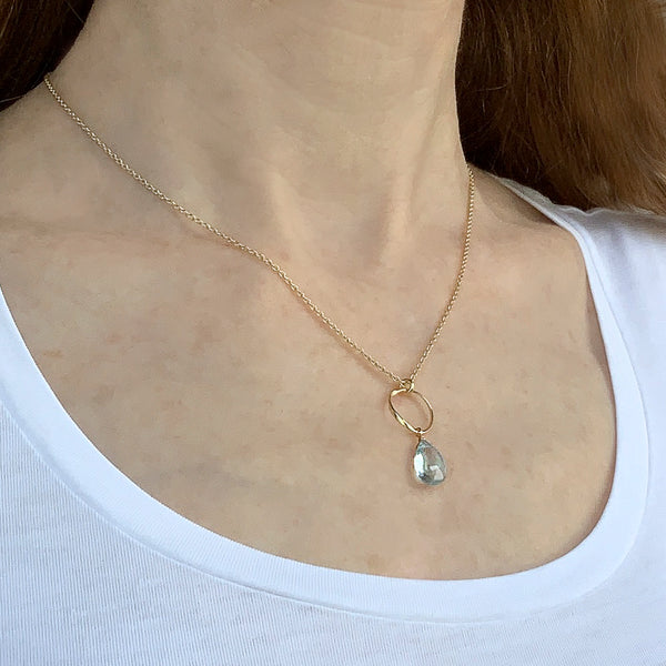 Blue Topaz Dew Drop Necklace