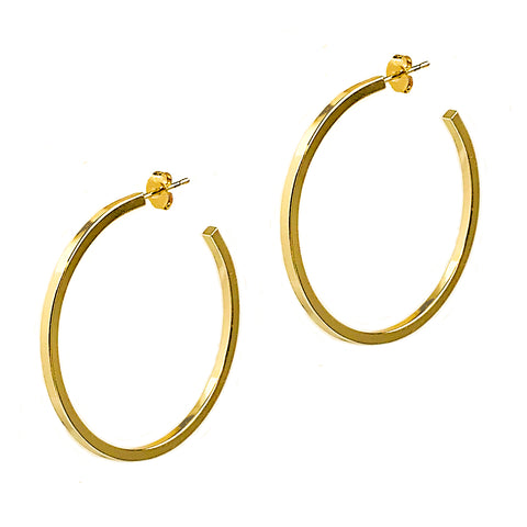 Gold Large Square Edge Hoops