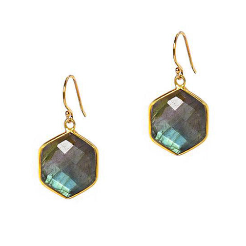 Labradorite Hex Earrings