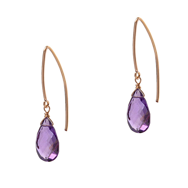 Amethyst Long Wire Earrings