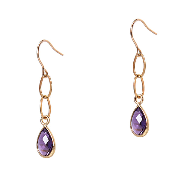Amethyst Chain Link Earrings