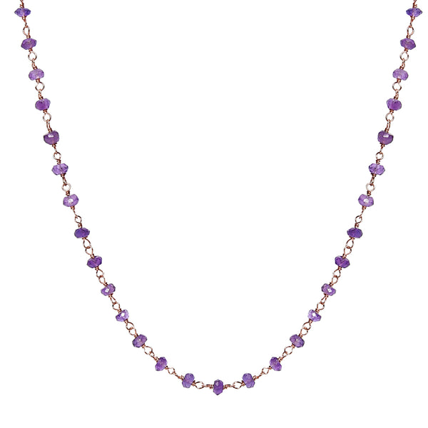 Amethyst Rosary Chain Necklace