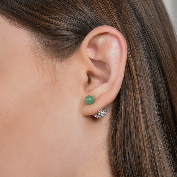 Green Aventurine Gem Ball Dagen Studs