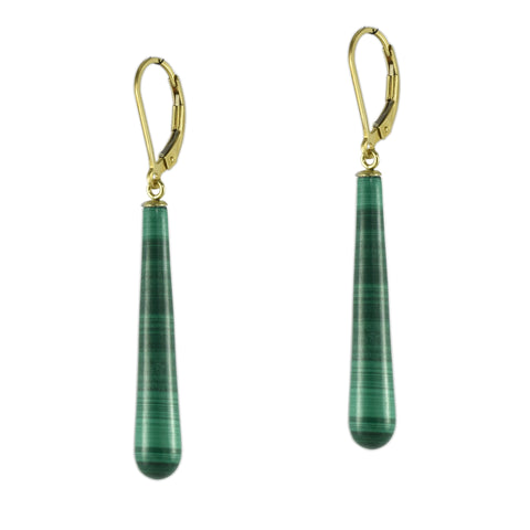 Malachite Baseball Bat Earrings