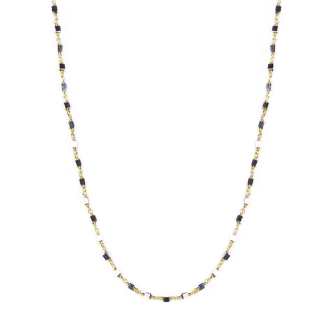 Gold with Hematite Cube Necklace
