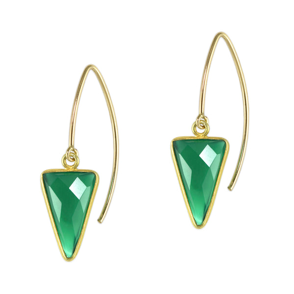Emerald Agate Arrow Earrings