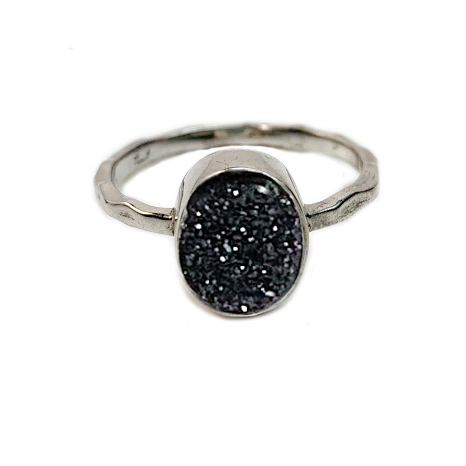 Black Oval Druzy Ring