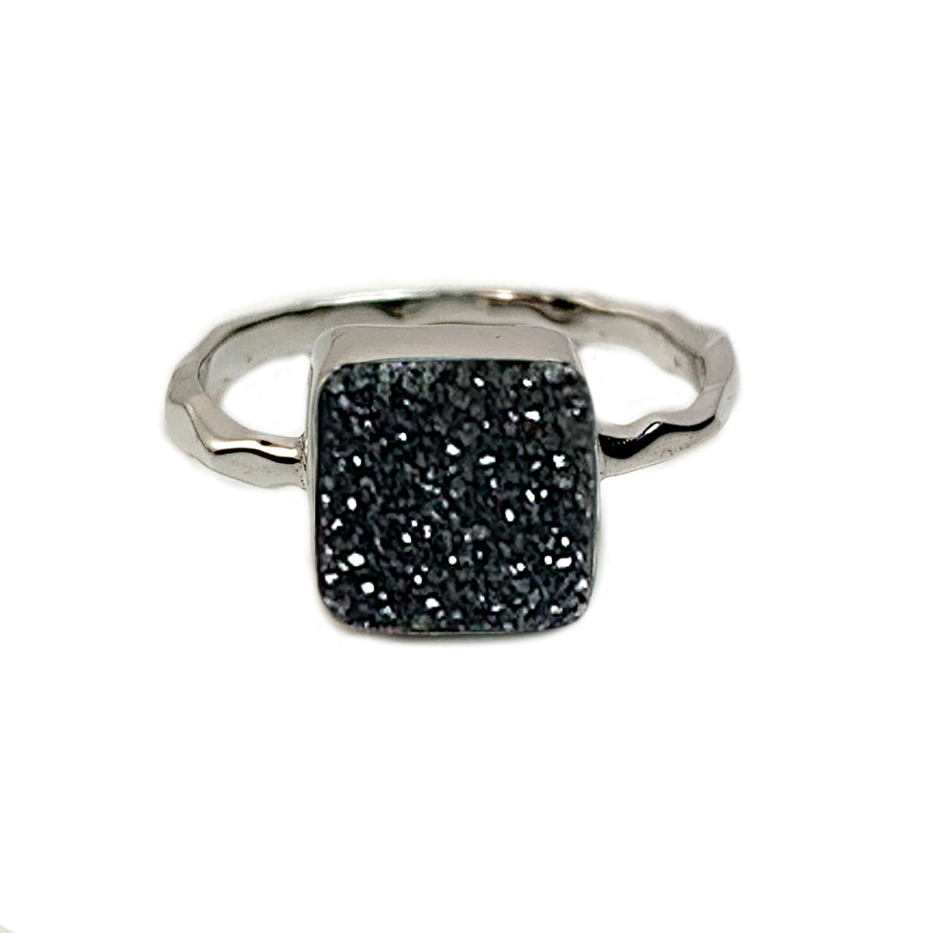 Black Square Druzy Ring