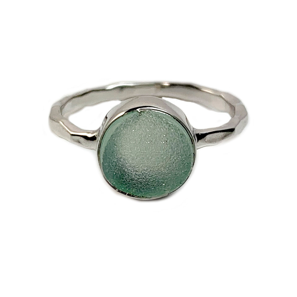Sea Green Round Druzy Ring