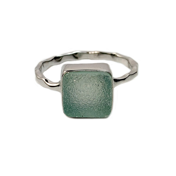 Sea Green Square Druzy Ring