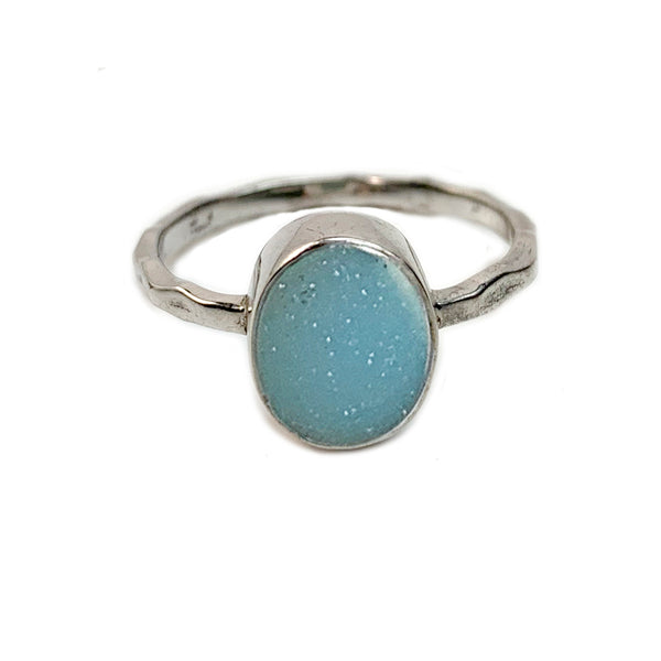 Sky Blue Oval Druzy Ring