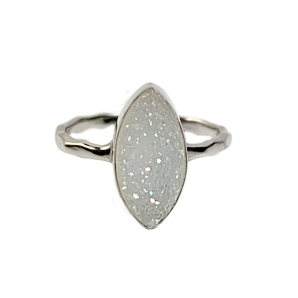 Natural White Marquise Druzy Ring