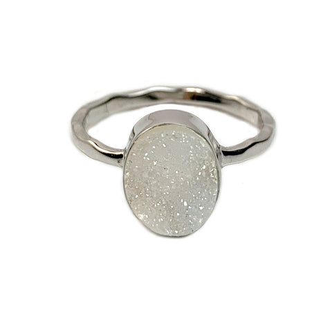 Natural White Oval Druzy Ring
