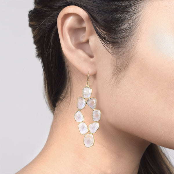 Moonstone Pebbled Diamond Earrings