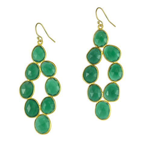 Emerald Agate Pebbled Diamond Earrings