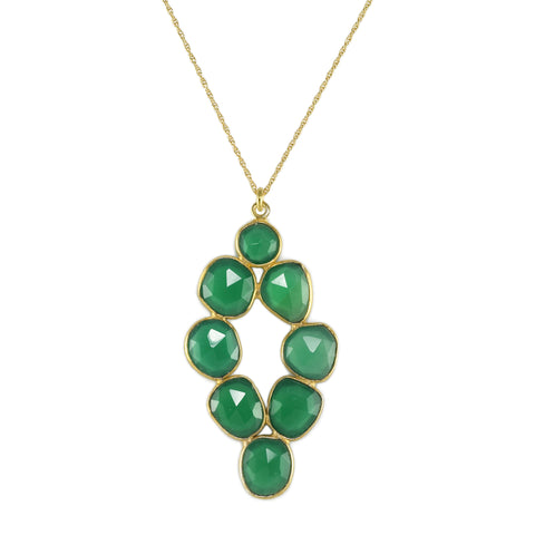 Emerald Agate Pebbled Diamond Pendant