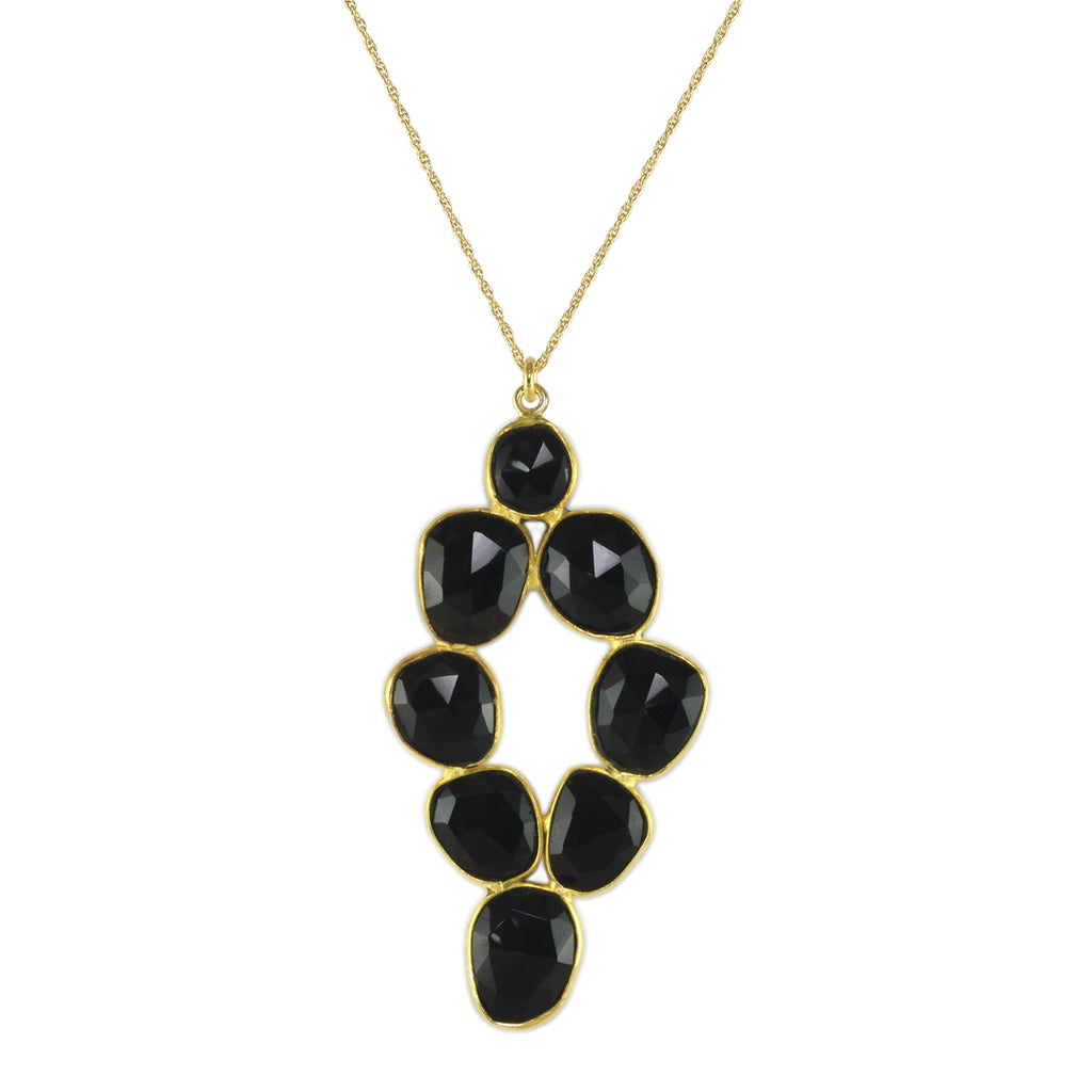 Black Onyx Pebbled Diamond Pendant