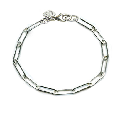 Silver Silver Paper Clip Anklet