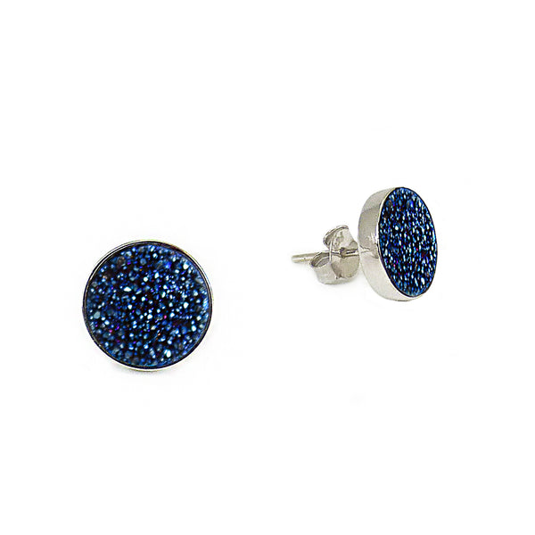 Silver and Teal Sparkle Studs