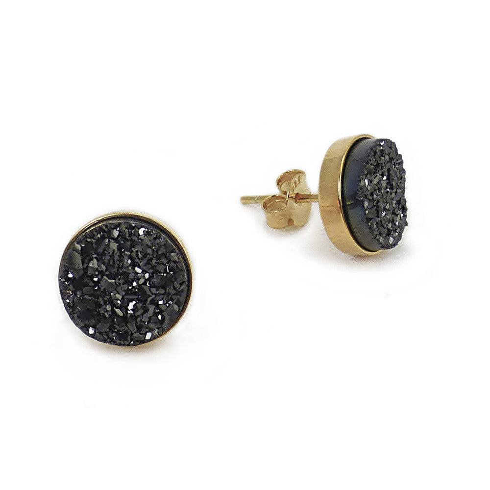 Gold and Black Sparkle Studs