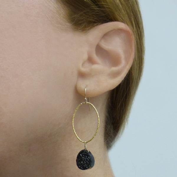 Black and Gold Oval Glitter Hoops