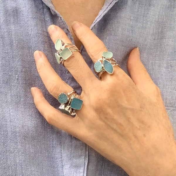 Sea Green Pear Druzy Ring