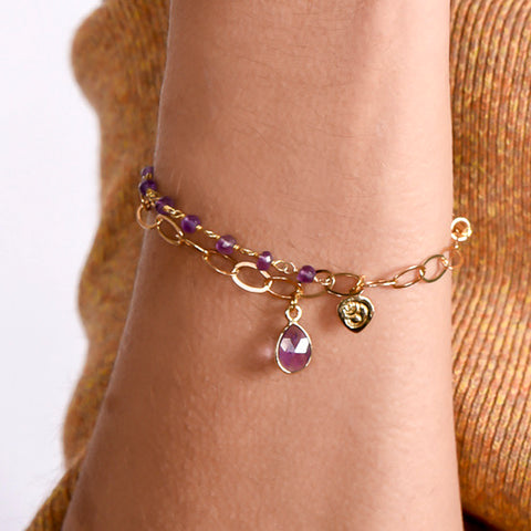 Amethyst Chain Layered Bracelet