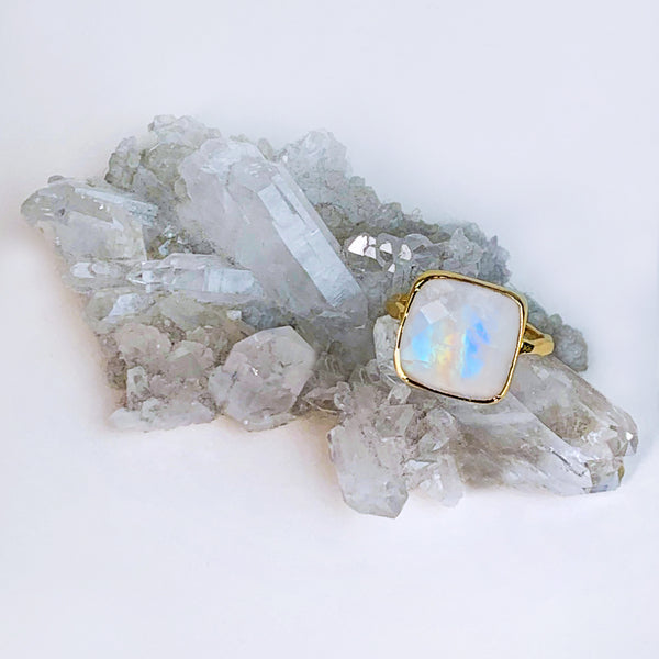 Rainbow Moonstone Cushion Ring