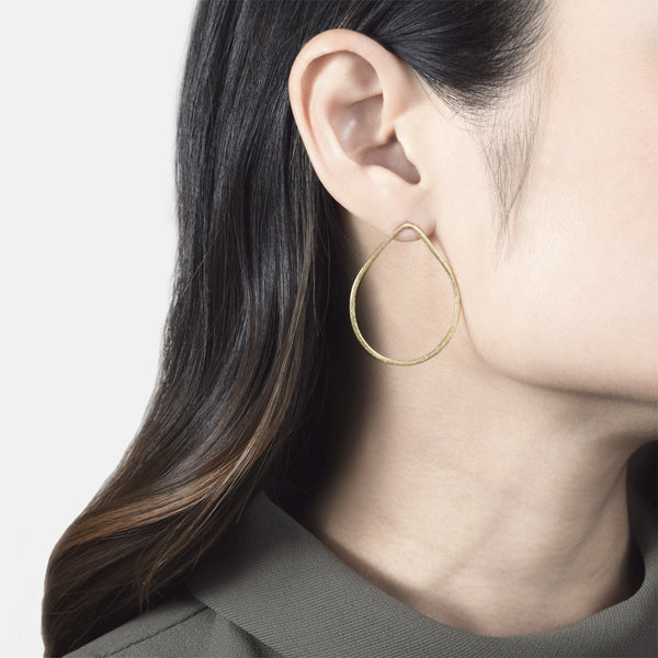 Gold Raindrop Hoop Earrings