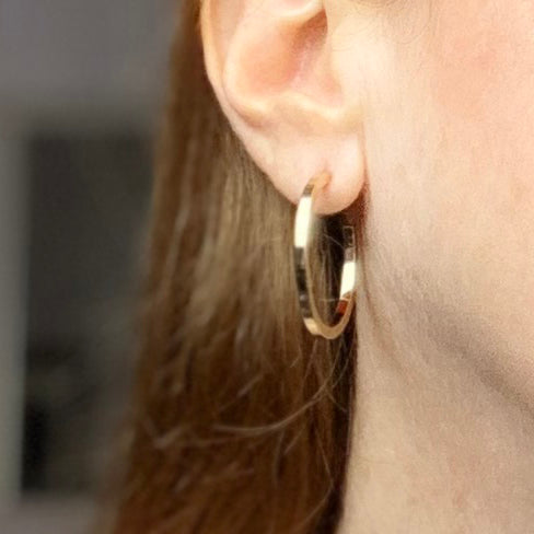 Gold Small Square Edge Hoops