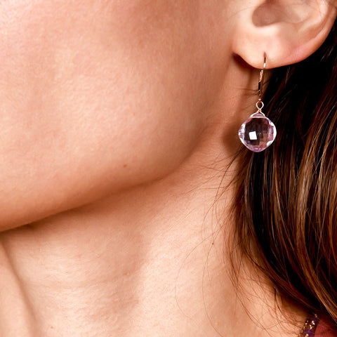 Pink Amethyst Diamond Cushion Earrings