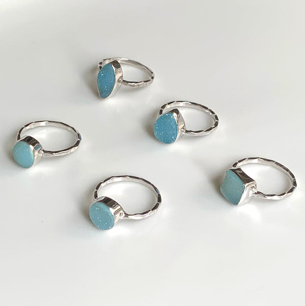 Sky Blue Square Druzy Ring