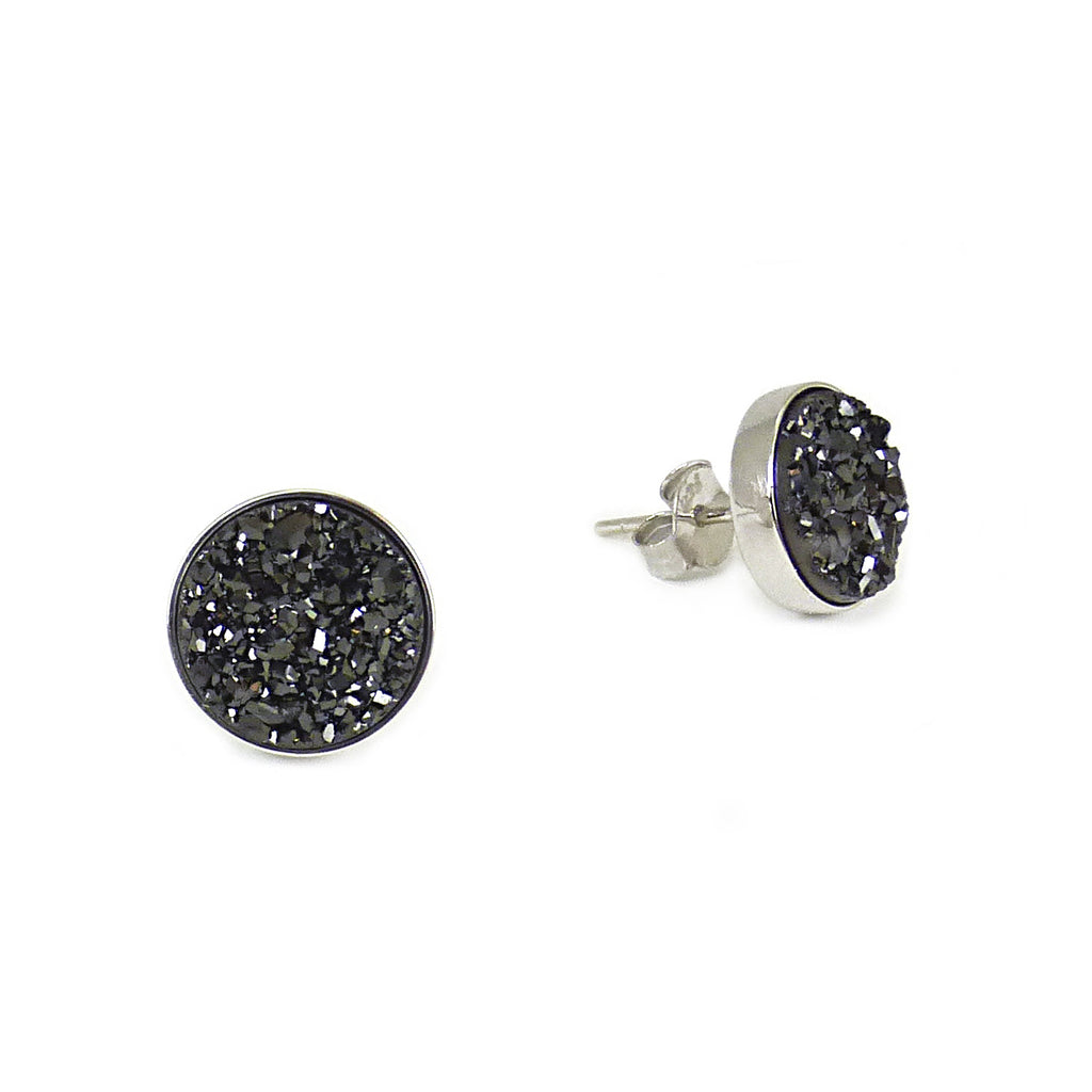 Silver and Black Sparkle Studs