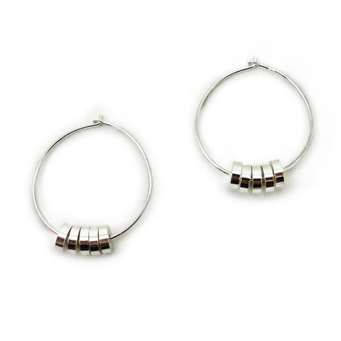 Silver Rondelle Hoops