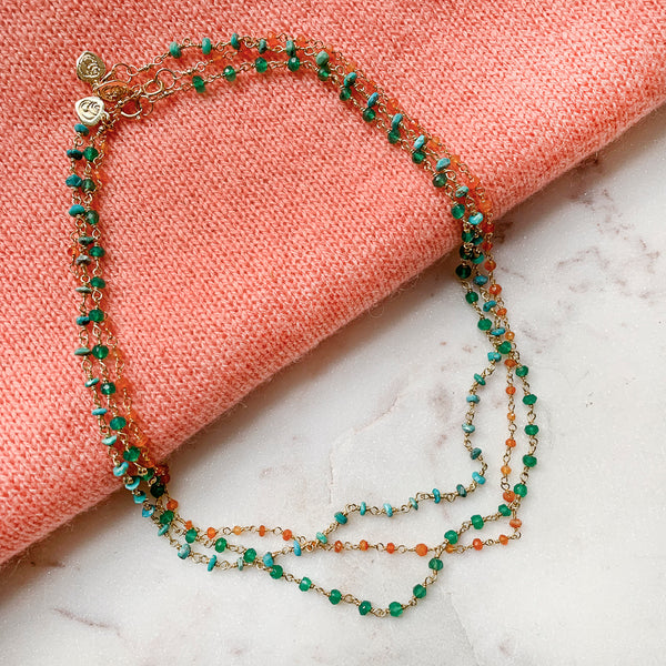 Emerald Agate Rosary Chain Necklace