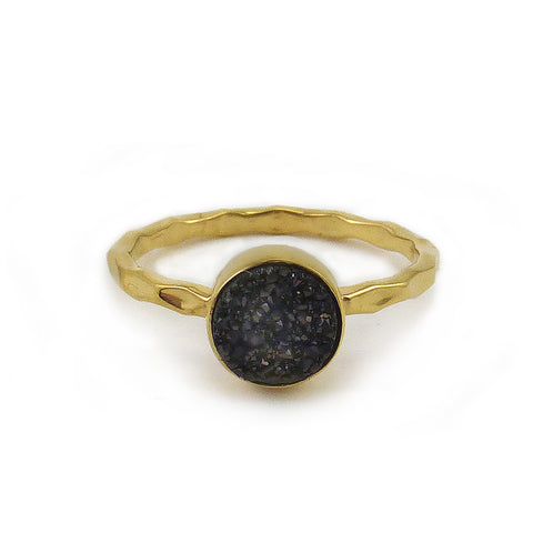 Gold Artisan Druzy Ring