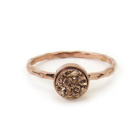 Rose Gold Artisan Druzy Ring