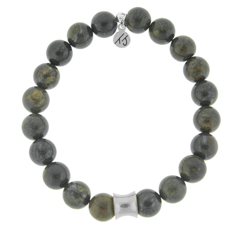Men's Noble Stone Bracelet Collection - Bronzite with Silver Accent Men's Beaded Bracelet