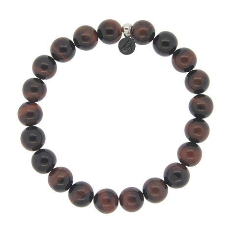 Men's Noble Stone Bracelet Collection-Classic Red Tigers Eye Men's Beaded Bracelet